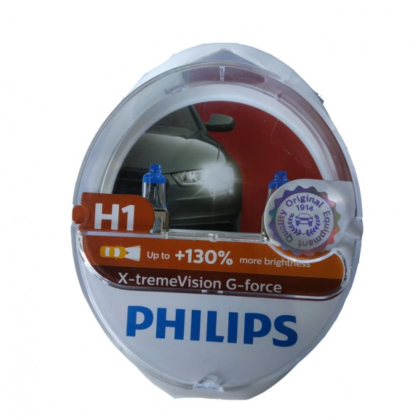 PHILIPS H1 12V 55W  X-TREME VISION G-FORCE +130% 12258XVGS2